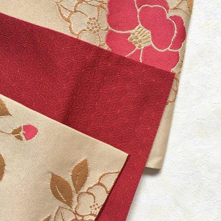 【新品】椿と麻の葉模様のリバーシブル半幅帯