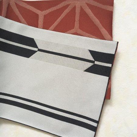 【新品】矢羽根と麻の葉模様のリバーシブル半幅帯