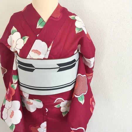 【新品】レトロモダン ワインレッドに椿の浴衣