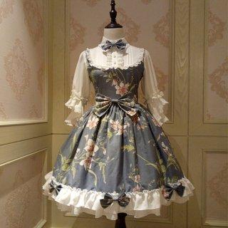 通年 ロリータクラシックドレス ブラウス付き リボン フリルレース 姫袖 蝶ネクタイ フロントリボン