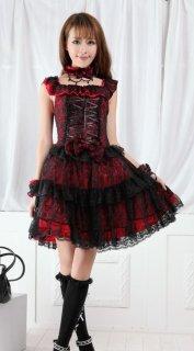 レッド&ブラック 編み上げロリータジャンパースカート クラロリ クラシカルロリータ ドレス ノースリーブ