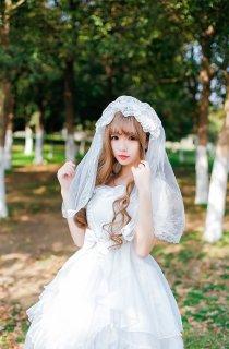 ロリータ花嫁さん風ヘッドドレス ベール チュール レース フリル ゴシック 白ロリ 甘ロリ ゴスロリ ロリータファッション