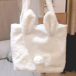 ロリータ ウサギトートバッグ ふわふわ ゆめかわ ウサギ 尻尾 白ロリ 甘ロリ ロリータファッション