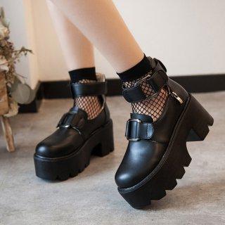 ロリータ厚底シューズ ヒール7cm おでこ靴 ゴスロリ 黒ロリ 安定感 コスプレ