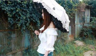 お花が可愛いフリル晴れ雨兼用折りたたみ傘 レース 日焼け止め UVカット
