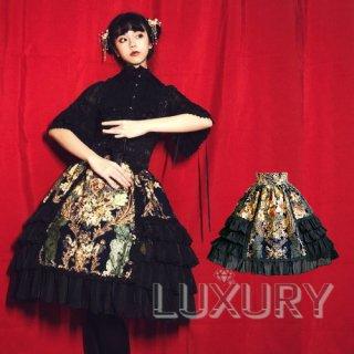 【即納有り】 ロリータファッション Doris night  ブランド ロリィタ ヨーロッパ風 スカート ハイウエスト フリル 花柄 膝丈 ゴスロリ ロリィタ S M L XL