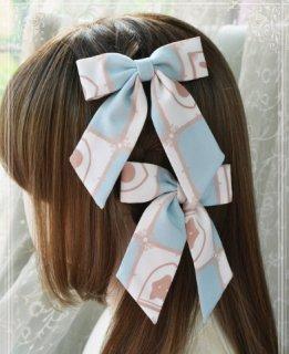 ロリータ 総柄リボンヘアクリップ 2つセット 甘ロリ クラシカル 髪飾り ヘッドドレス キツネ プリント ベージュ グリーン
