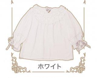 ロリータChess Story MissCatブラウス 姫袖 5分袖 リボン フリル ティアードカラー 猫柄 ふんわり ゆったり loli0057