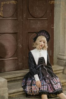 ロリータ Cel Crusade 修道女風ドレス OP ワンピース リボン ゴスロリ ステンドグラス ホワイト ブラック 長袖 loli0118