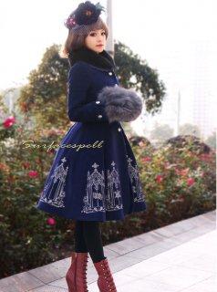 ロリータ Surfacespell ゴシック羊毛コート ファー取り外し可 コートのみ ゴスロリ クラロリ ネイビー 薔薇 冬 クラシカル loli0142