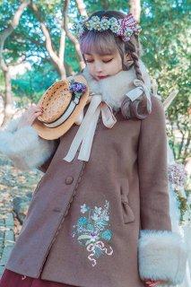 ロリータ Surfacespell 花束刺繍羊毛コート ファー取り外し可 コートのみ リボン 甘ロリ クラロリ ブラウン ホワイト loli0139
