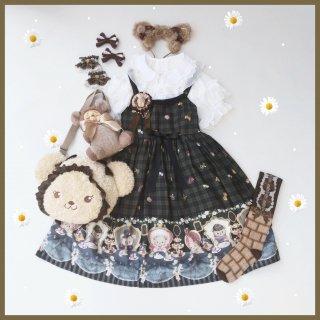 【受注生産】ロリータ Diamond Honey テディベアのお茶会ジャンスカ ジャンパースカートのみ くま 甘ロリ ブラック loli0177