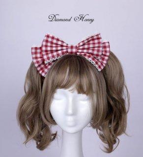 【受注生産】ロリータ Diamond Honey ギンガムチェックスイートカチューシャ KCのみ 甘ロリ レッド ブルー ピンク loli0198