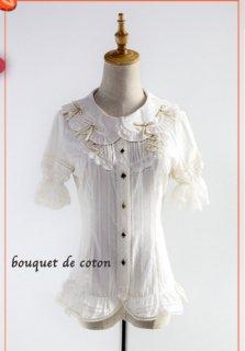 春夏 ロリータフリルブラウス リボン シャーリング パフスリーブ ちょうちん袖 フロントリボン 半袖 かわいい