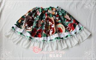 クリスマス柄フリルスカート 膝丈 リボン 甘ロリ ウエストゴム クラシカル
