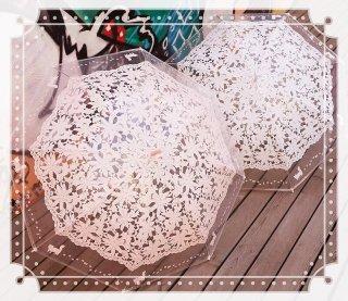 ロリータ Luna Lucifer 百合の花柄透明傘 傘のみ 雨傘 甘ロリ クラロリ 普段使い