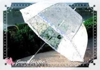 ロリータ Luna Lucifer 白レース柄雨傘 傘のみ 透明 甘ロリ 撮影 普段使い