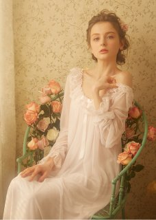 ロリータファッション ナイトウェア クラシカル レースネグリジェ ネグリジェのみ 姫 透け感 部屋着 姫ロリ ロリィタ レース
