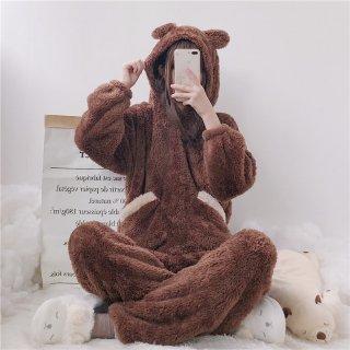即納商品アリ ロリータ ナイトウェア くつろぎクマさん耳付きパジャマ 上下セット パジャマのみ 部屋着 甘ロリ あったか