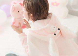 ロリータ ナイトウェア ピンクのブタさんつなぎパジャマ つなぎのみ 耳付き 部屋着 あったか 甘ロリ