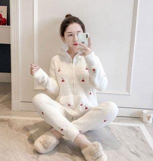 ロリータ ナイトウェア さくらんぼ柄あったかパジャマ 上下セット パジャマのみ チェリー 部屋着 甘ロリ