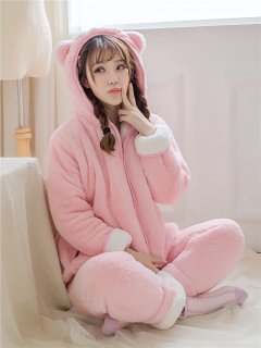 ロリータ ナイトウェア ねこみみフード付きパジャマ 上下セット パジャマのみ 部屋着 甘ロリ