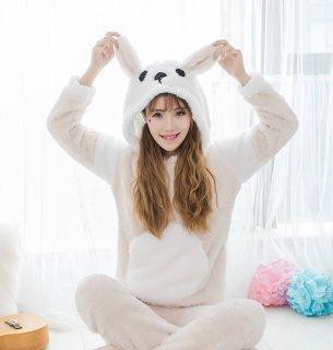 ロリータ ナイトウェア 真っ白おなかのワンちゃんパジャマ 上下セット パジャマのみ モコモコ 部屋着