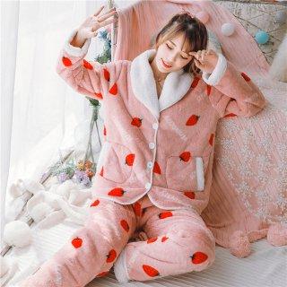 ロリータ ナイトウェア 超あったかいちご柄ボアパジャマ 上下セット パジャマのみ 部屋着