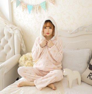 ロリータ ナイトウェア 花柄モコモコパジャマ 上下セット パジャマのみ 部屋着 かわいい 甘ロリ