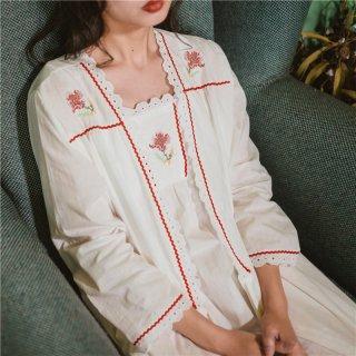 ロリータ ナイトウェア 花の刺繍ネグリジェ+ガウン 2点セット 姫 キャミワンピ 部屋着 姫ロリ