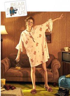 ロリータ ナイトウェア くまちゃん柄姫袖ネグリジェ ネグリジェのみ ミニ丈 部屋着 姫ロリ 甘ロリ
