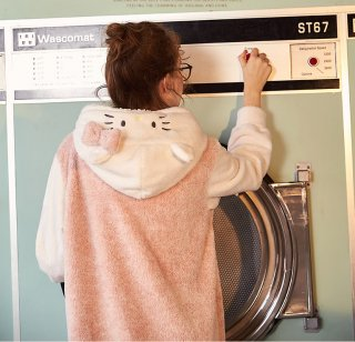 ロリータ ナイトウェア キティちゃんのモコモコつなぎパジャマ つなぎのみ コラボ 部屋着 甘ロリ ねこ耳