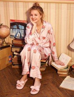 ロリータ ナイトウェア イチゴストライプ柄パジャマ 長袖 長ズボン上下セット パジャマのみ 部屋着 姫ロリ 甘ロリ