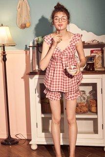 ロリータ ナイトウェア ギンガムチェックキティちゃんのパジャマ 上下セット パジャマのみ 甘ロリ 部屋着