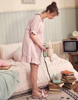 ロリータ ナイトウェア パフスリーブ半袖ネグリジェ ネグリジェのみ フリル 部屋着 ストライプ 甘ロリ