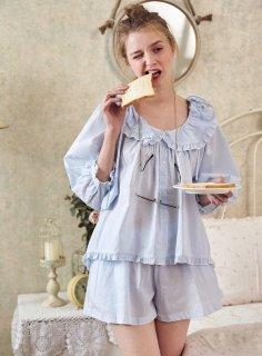 ロリータ ナイトウェア フリル丸襟パジャマ 上下セット パジャマのみ 長袖 短パン 甘ロリ 部屋着