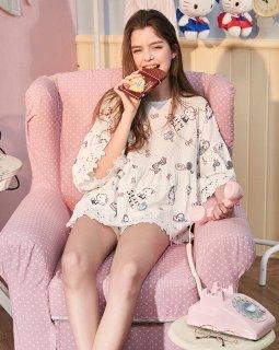ロリータ ナイトウェア キティちゃんのフリンジレースパジャマ 短パン 上下セット パジャマのみ 部屋着