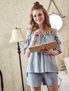 ロリータ ナイトウェア 肩出しフリルパジャマ 短パン 上下セット パジャマのみ 甘ロリ 部屋着
