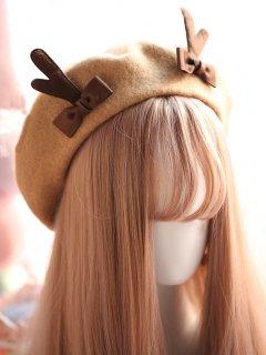 ロリータ シカのツノ付きベレー帽 ベレー帽のみ 甘ロリ リボン 甘ロリ かわいい