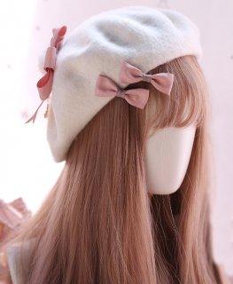 ロリータ リボンたくさんパールベレー帽 ベレー帽のみ 甘ロリ リボン 甘ロリ かわいい