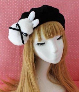 ロリータ デカうさぎのベレー帽 ベレー帽のみ 甘ロリ リボン 甘ロリ かわいい