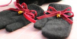 【ポスト投函対応】ロリータ Wりぼんブラック手袋 1セット 手袋のみ 甘ロリ ゴスロリ あったか 普段使い ロリータ小物