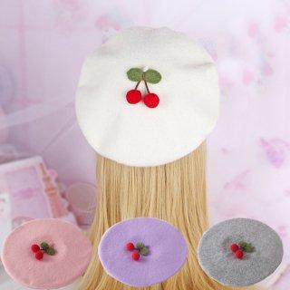ロリータ さくらんぼベレー帽 ベレー帽のみ チェリー 普段使い 甘ロリ あったか 秋冬