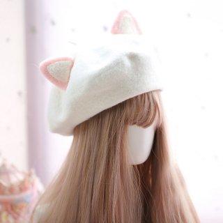 ロリータ 猫耳ベレー帽 ベレー帽のみ にゃんこ 甘ロリ 耳 かわいい 普段使い 小物 帽子【ポスト投函対応】