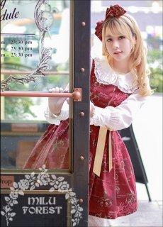 ロリータ Milu Forest Antique scissors ワインレッド ジャンパースカート ジャンスカのみ クラロリ リボン ひざ丈 ロリィタ ロリータファッション S M L XL