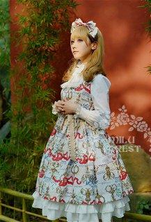 ロリータ Milu Forest Antique scissorsホワイトジャンパースカート ジャンスカのみ クラロリ リボン 姫