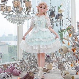 ロリータファッション ロリータ Rabbit&Sheep 海のプリンセス若草色ジャンパースカート ジャンスカのみ jsk ゆめかわ 甘ロリ