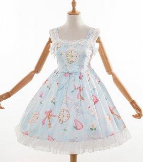 ロリータファッション ロリータ ハートうさぎのジャンパースカート ジャンスカとヘッドドレス付き アリス 甘ロリ