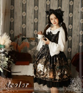 【即納商品有り】月の女神ジャンパースカート フロントリボン 黒ロリ エンジェル柄 ふんわり フリル リボン ロリータファッション