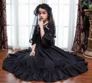 ロリータファッション ロリータ Vライン クラシカルドレス ワンピース ワンピのみ パフスリーブ クラロリ ゴスロリ 姫 0723